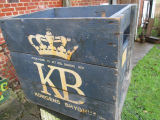 Rarität : Alte Kongens Bryghus (kb) Bierkiste Aus Holz Bild