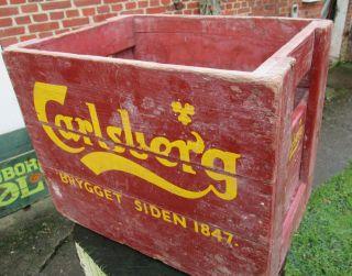 Alte Carlsberg Bierkiste Aus Holz Bild