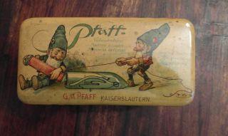 G.  M.  Pfaff Kaiserslautern Nähmaschine Blechdose Zwerge Jugendstil Bild