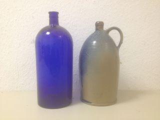2 Alte Gefäße - Bauer Apotheke Kannen Glas Ton - Gefäß - Antik Bild