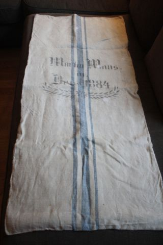 Alter Leinensack Getreidesack Mehlsack Antik Leinen Shabby 1884 Bild