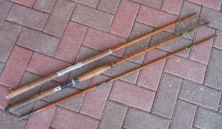 Für Bastler: 3 Teile Von Alten Angelruten,  Bambus,  Gespließt Bild