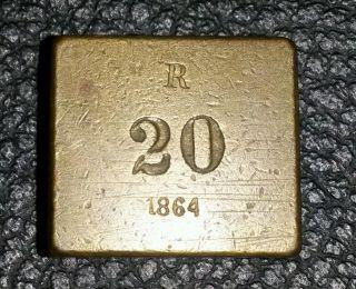 Seltenes Altes Würfel Rechteck Gewicht Messing 1864 R 26,  2g Vormetrisch Waage Bild