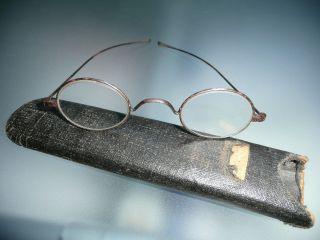 Alte Nickelbrille Aus England Mit Etui Um 1920 Dekorativ Und Witzig Bild