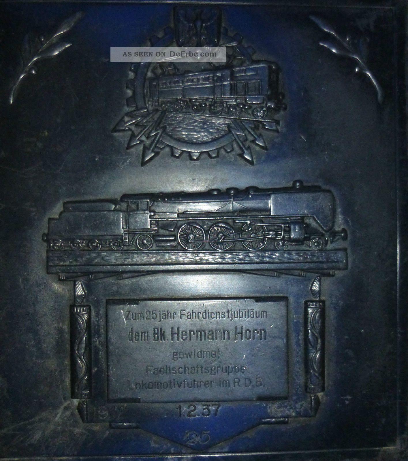 Ehrenplakette 25 Jähr.  Dienstjubiläum Eines Lokführers 1937,  Drg,  Br 03 Alte Berufe Bild
