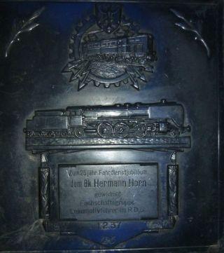 Ehrenplakette 25 Jähr.  Dienstjubiläum Eines Lokführers 1937,  Drg,  Br 03 Bild