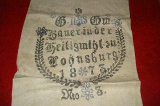 Ner Antiker Mehlsack - Leinensack - Lohnsburg OÖ - 1873 Bild