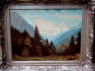 Antikes Gemälde Von Ferdinand Geisselmann (1905 - 1991) Alpen? Gut Erhalten Bild