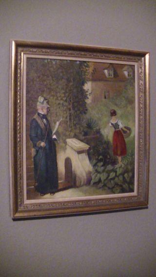Ölgemälde Auf Leinwand Im Gold Holz Rahmen,  Signiert,  Mann Frau Mädchen Bild