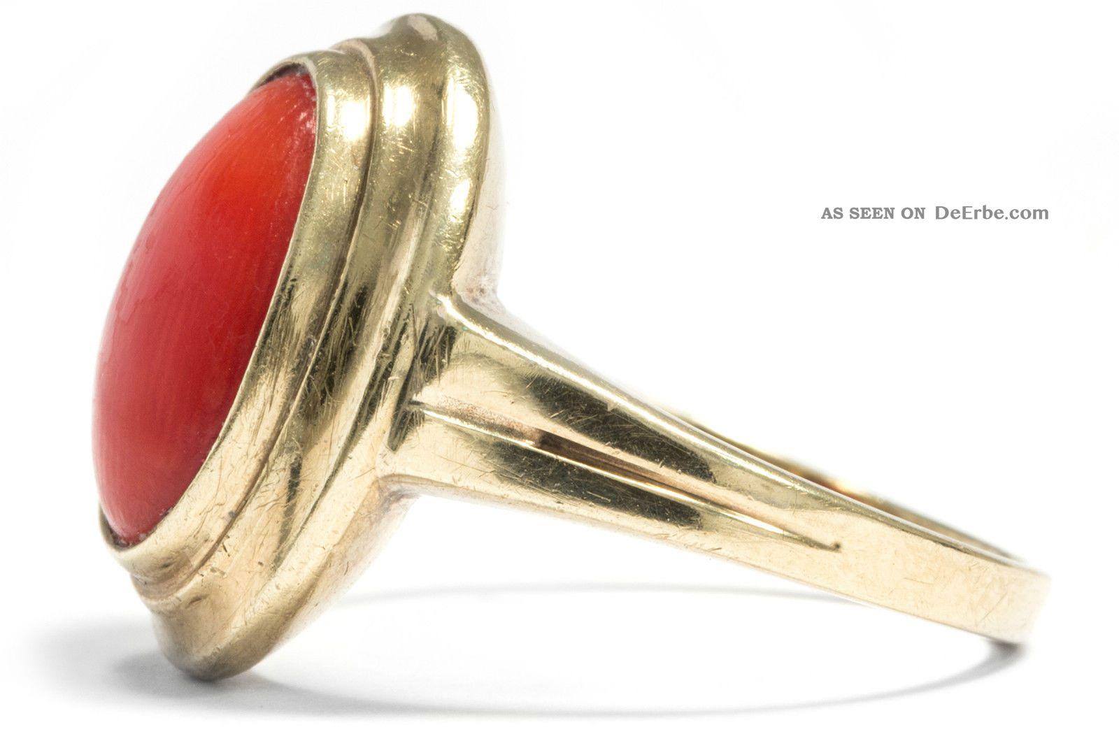 ... Ring Mit Koralle 333 Gold Ring Korallenring Korallen / Coral Ring