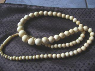 Antike Halskette Aus Bein 91 Perlen LÄnge 70 Cm 58 Gramm Bild