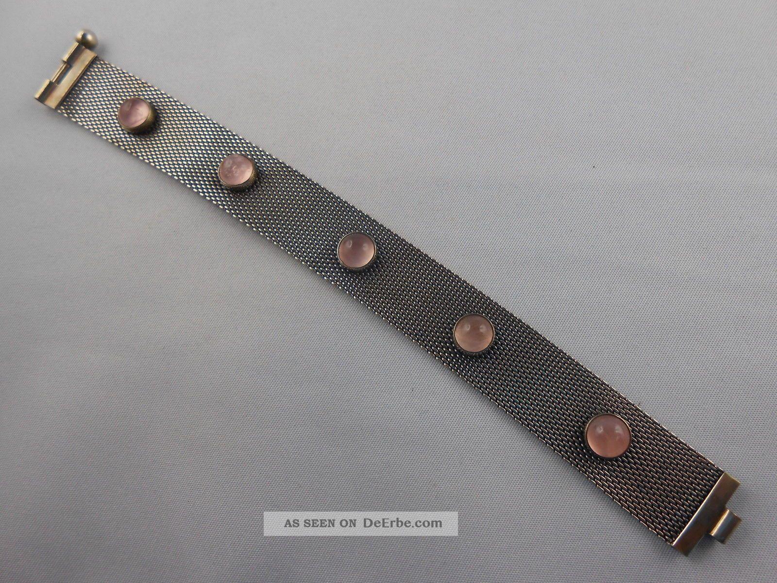 altes silber armband mit rosenquarz und 835 stempel armschmuck armkette armreif. Black Bedroom Furniture Sets. Home Design Ideas