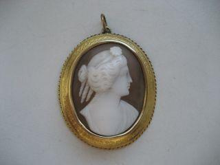 Sehr Alte Kamee Anhänger,  Biedermeier 1820 Gold 14 K,  Gemme,  Muschelkamee Bild