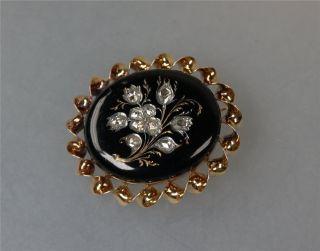 Biedermeier Brosche Oder Anhänger Rotgold Mit Diamantrosen Und Emaille (2596) Bild