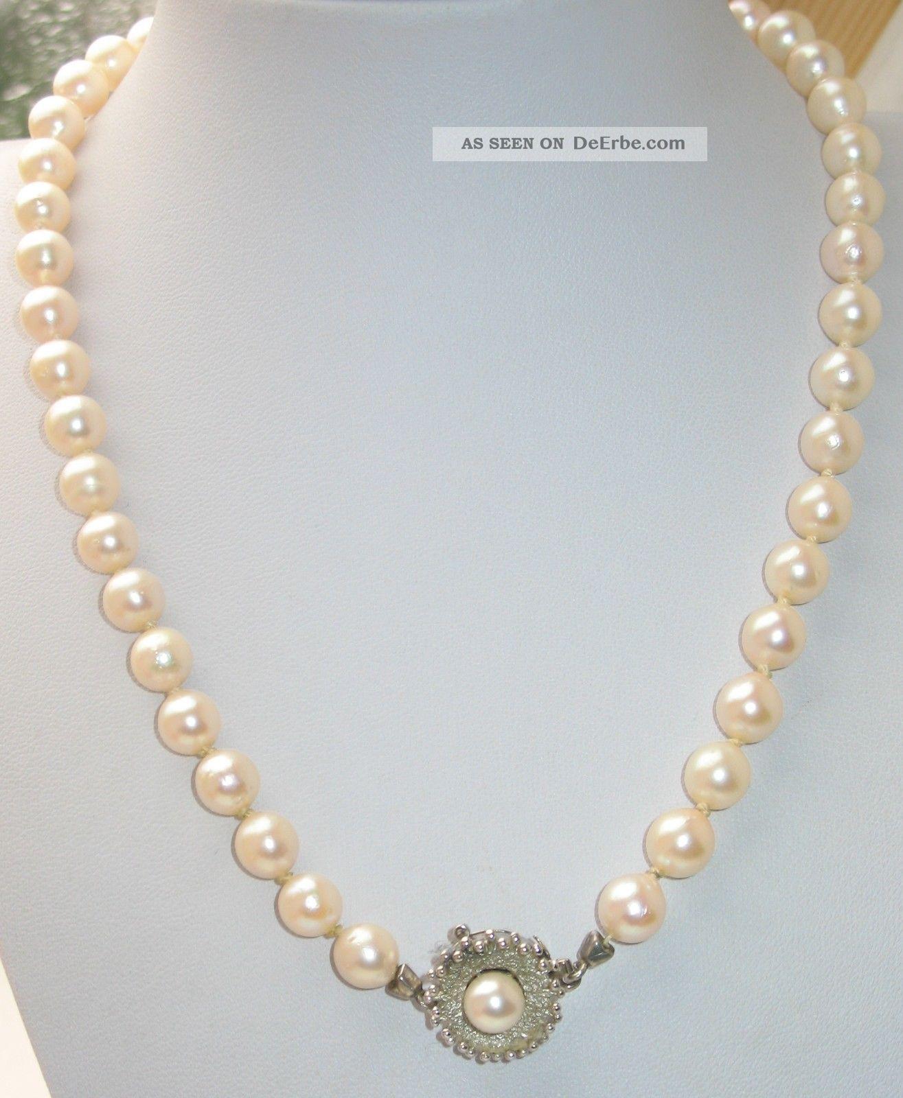 jugendstil 0 7 cm echte perlen kette collier perlenkette 585er wei gold. Black Bedroom Furniture Sets. Home Design Ideas