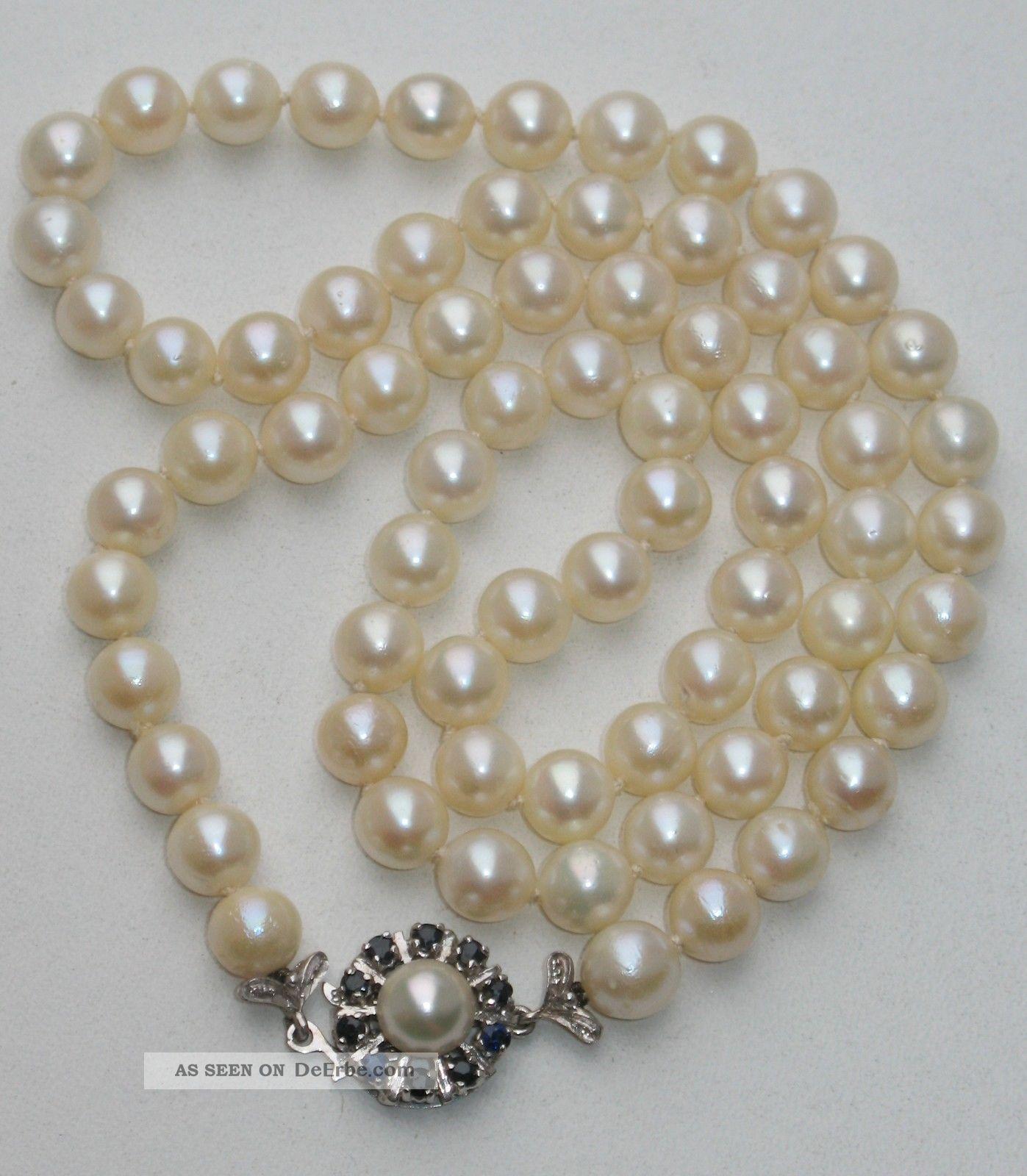 jugendstil 0 7 cm echte perlen saphir kette collier perlenkette 585er wei gold. Black Bedroom Furniture Sets. Home Design Ideas