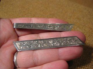 2 Alte Krawattennadel - Spange / 800er Silber Mit Muster Bild