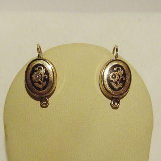 Antike Biedermeier - Ohrringe Mit Saatperlchen,  585er Gelbgold / Antikschmuck Bild