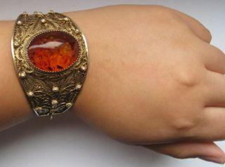 Biedermeier Armreif Armband Armspange 800 Silber Filigran Bernstein Butterscotch Bild