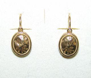 Ein Paar Ohrringe Biedermeier 19.  Jh.  In Gold 585 Bild