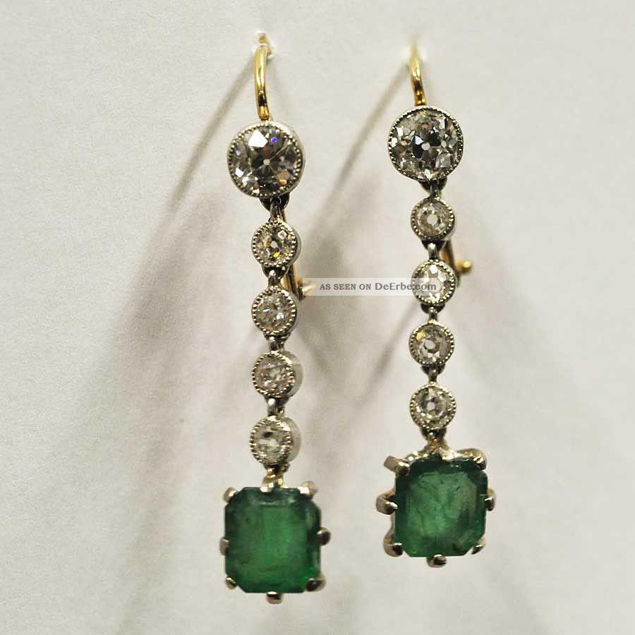 ohrringe h nger 1 ct solit r altschliff diamant smaragd. Black Bedroom Furniture Sets. Home Design Ideas