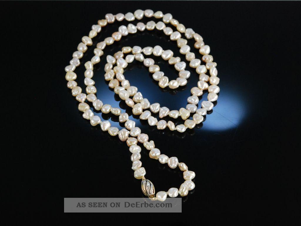 feine lange zuchtperlenkette biwa perlen kette rose gold. Black Bedroom Furniture Sets. Home Design Ideas