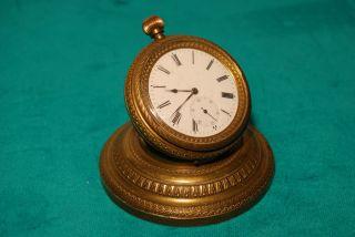 Kleine Tischuhr / Miniaturuhr Mit Taschenuhrwerk Um 1900 Bild