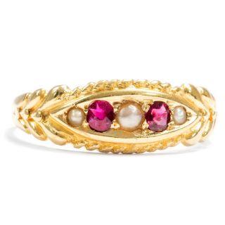 Victorian Um 1900: Rubine & Perlen Auf 750 Gold Ring Rubin / 18k Ruby Pearl Bild