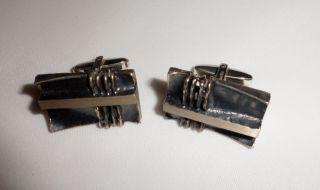 Stylische Manschettenknöpfe Aus Silber 1970er Jahre Bild