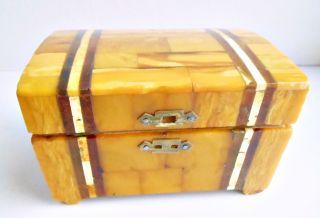 Antik Art Déco Schatulle Casket Amber Butterscotch Egg Yolk Bernstein Patina Bild