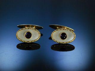 Paar ManschettenknÖpfe Gold 585 Amethyst Perlmutt Berlin Um 1910 Cufflinks Bild