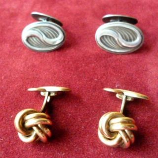2 Paar Antike Manschettenknöpfe - 1x 585 - Gold Und 1x 835 - Silber Bild