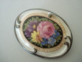 Art - Deco Schumann Porzellan Brosche Blumen Malerei Um1950 Ansehen Bild