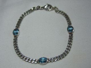 Art_deco 925er Silber Armband 3 X Echte Aquamarine Design Bild