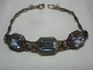 Jugendstil Silber Armband 3 X Echte Aquamarine Design Bild