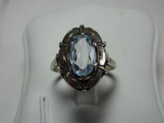 Jugendstil 835er Silber Ring Echter Aquamarin Design Bild