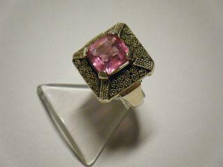 Erbstück: Ring Art Deco Theodor Fahrner,  Silber/vergoldet,  Schöner Stein In Pink Bild