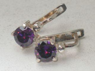 Jugendstil Silber Ohrringe 2 X Amethyst Design Bild