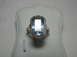 Jugendstil Silber Ring Echter Aquamarin Design Bild