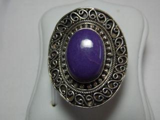 Art_deco 925er Silber Ring Lila Stein Design Bild
