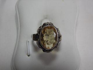 Jugendstil Silber Ring Echter Citrin Design Bild