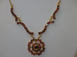Jugendstil Silber Kette Collier 67 X Granat Vergoldet Design Bild