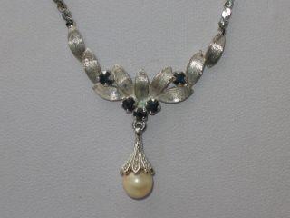 Jugendstil 835er Silber Kette Collier 5 X Saphir 1 X Echte Perle Design Bild