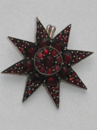 Biedermeier 49 X Granat Anhänger Stern Design 1840 Böhmische Granate Bild