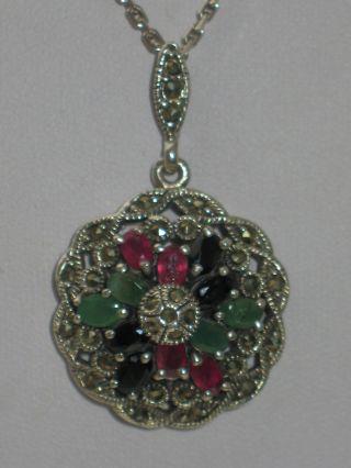 Jugendstil Silber Anhänger Rubin Saphir Smaragd,  Kette Fbm Bild