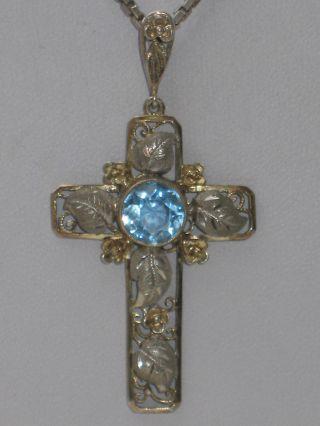 Jugendstil 935er Silber Kreuz Anhänger Aquamarin Blüten Blätter,  Kette Bild