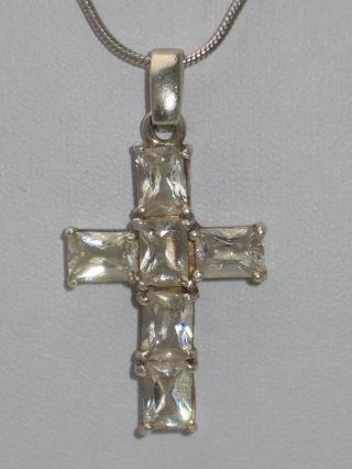 Jugendstil Silber Kreuz Anhänger 6 X Bergkristall,  Kette Meisterpunze Bild