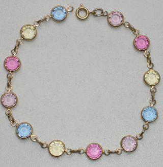 Jugendstil Silber Armband Aquamarin Amethyst Zitrin Rosa Turmalin Bild