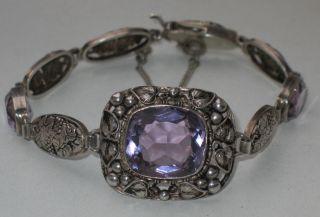 Jugendstil Silber Armband 3 X Amethyst Design Weinreben Wein Bild