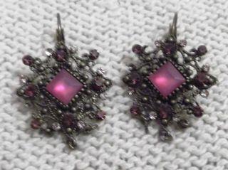 Zauberhafte Ohrringe Altsilber - Look Mit Straß - Steinen In Klar Und Pink - Rosa Bild